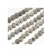 5.2mm Tibetan Style FLOWER Bead Spacer - ANT. SILVER