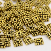 7mm Tibetan Style SQUARE Bead Spacer - ANTIQUE GOLD