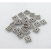 7mm Tibetan Style SQUARE Bead Spacer - ANTIQUE SILVER