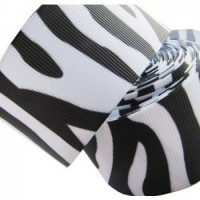 "1"" or 25mm Zebra Grosgrain Ribbon - WHITE"