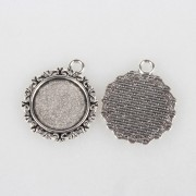 18mm Tibetan Style Pendant  Cabochon Setting - ANTIQUE SILVER