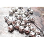 6.5mm Tibetan Style BICONE Bead Spacer - Antique Silver