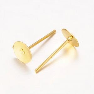 6mm Post Earstud Earring Findings - GOLD PLATED