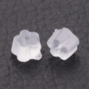 4mm x 2.5mm Clear FLOWER Rubber Back Earring Stoppers