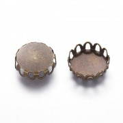 10mm Lace Edge Tray  Cabochon Setting - ANTIQUE BRONZE