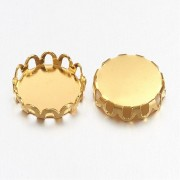 10mm Lace Edge Tray  Cabochon Setting - GOLDEN