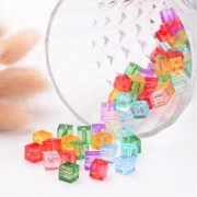 "7mm ""CUBE"" Transparent Acrylic Beads  - MIXTURE"