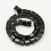 8mm Black Glass Beads - CUBE