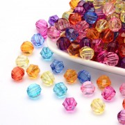 10mm Faceted Transparent Acrylic Beads - MIXTURE