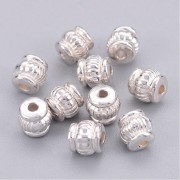 5mm Tibetan Style BARREL Bead Spacer - SILVER