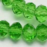 8mm Faceted Abacus Glass Beads - Green