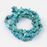 Natural White Jade Chip Beads - Deep Sky Blue