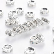 6mm Rhinestone Straight Rondelle Spacer Beads - CLEAR