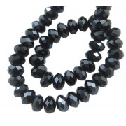 8mm Faceted Pearl Luster Plated Glass Beads - BLACK