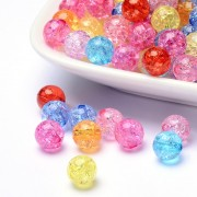 8mm Transparent Crackle Acrylic Beads - MIXTURE