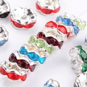 6mm Rhinestone Rondelle Spacer Beads - Mixed