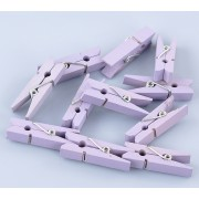 35mm Wooden Clothespin Clips / Pegs - LAVENDER
