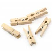 35mm Wooden Clothespin Clips / Pegs - WOOD COLOUR