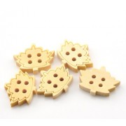 20mm Leafy Wooden Buttons