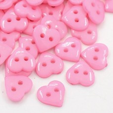 10mm HEART Acrylic Buttons - Pink