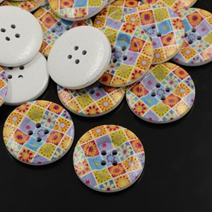 30mm Printed ROUND Wooden Buttons - 001