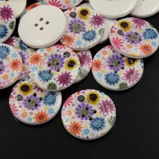30mm Printed ROUND Wooden Buttons - 002