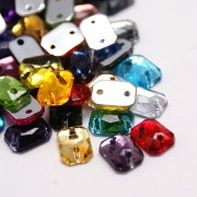 10mm RECTANGLE Sew On Flat Back Faceted Rhinetones