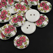 30mm Printed ROUND Wooden Buttons - 003