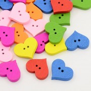 20mm HEART Wooden Buttons - Mixture