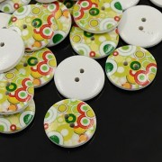 30mm Printed ROUND Wooden Buttons - 004