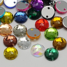 8mm ROUND Sew On Flat Back Faceted Rhinetones