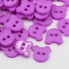 11mm BEAR Acrylic Buttons - Orchid