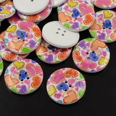 30mm Printed ROUND Wooden Buttons - 005