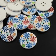 30mm Printed ROUND Wooden Buttons - 006