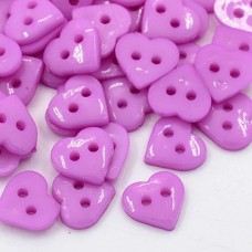 10mm HEART Acrylic Buttons - Lt. Orchid