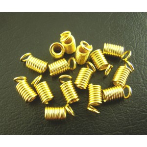 8mm x 4mm Spring ends Cord Tips - Bright Gold