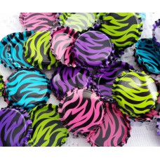 25mm STANDARD Double Sided Painted Bottle Caps - ZEBRA DESIGN