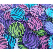 25mm FLATTEN Double Sided Painted Bottle Caps - ZEBRA DESIGN