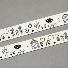 15mm Printed Cotton Ribbon - BIRDS & FLOWERS