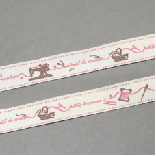 15mm Printed Cotton Ribbon - SEWING MACHINE