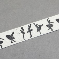 15mm Printed Cotton Ribbon - BALLET DANCER