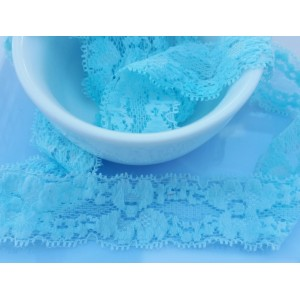 "1"" or 25mm Elastic Lace Edge Trim - LT. BLUE"