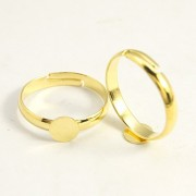 6mm Pad Adjustable Ring - Gold Plated