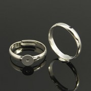 6mm Pad Adjustable Ring - Silver Plated