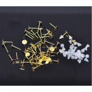 Earring Post W /Stoppers 6mm Flatpad - Gold Plated