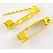 20mm Brooch Back Bar Pins Findings  - Gold Plated