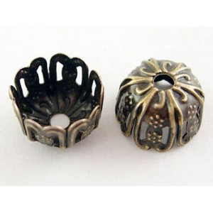 9mm Antique Bronze Flower Bead Caps