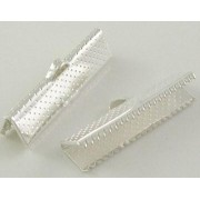 16mm Ribbon Clip Ends - Silver Plated
