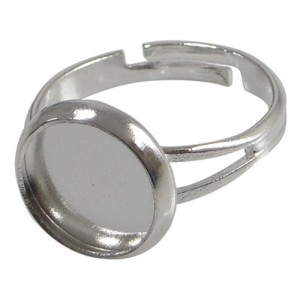 12mm Adjustable Ring Pad Setting - Silver Plated