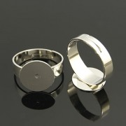 12mm Pad Adjustable Ring - Silver